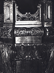 Photograph of the decoratively carved pulpit which dominated the main auditorium