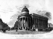 Scan of old Lithograph showing the Black-E soon after it was rebuilt in the 1840s