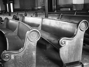 Photograph showing the beautiful curved pews which filled the main auditorium seating almost 2000 people