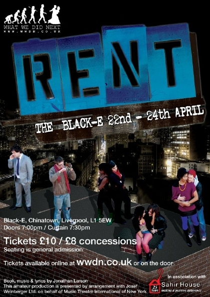 Rent the performance, performed by What We Did Next at the black-e on the 22,23 and 24 of April