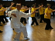 photograph showing Tai chi teacher leading class