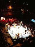 boxing match viewed from the balcony