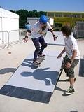 Girl trying her hand at skateboarding